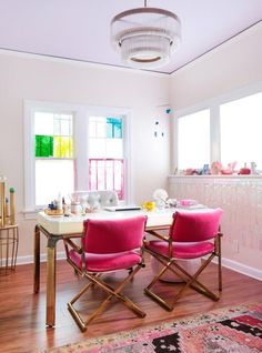 do Office - Emily Henderson Pink Home Office Ideas Purple Office, Gold Office, Bright Office, Feminine Office, White Office, Em Henderson, Office Ceiling, Home Office Decor, Home Decor