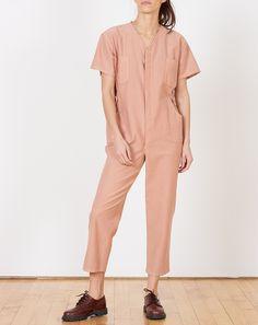 Caron Callahan Christine Jumpsuit in Peach Japanese Cotton Twill