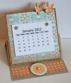 Hello there, happy weekend to you! I started out my Saturday morning making this 2012 easel desk calendar. One of my stamping goals for. Table Calendar, Calendar Notes, Calendar Ideas, Retreat Gifts, 3d Paper Crafts, Paper Crafting, Shaped Cards, Craft Show Ideas, Easel Cards
