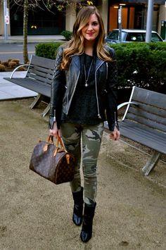 Camo pants, leather jacket **Masterly styling**