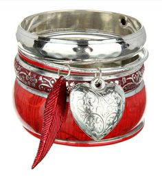 Brand New Versatile Silver & Red Set of Bangles with Heart & Leaf. ON SALE NOW.