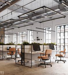 Corporate Office Design, Open Office Design, Industrial Office Design, Office Interior Design, Industrial Workspace, Modern Interior, Office Ceiling Design, Design Studio Office, Monochrome Interior
