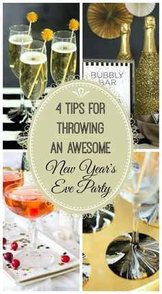 4 tips for throwing an awesome New Year's Eve party! See more party ideas at CatchMyParty.com. #newyearseve #champagne #partyideas