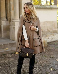 Camel cape with black piping