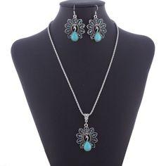 LNRRABC Bohemian Retro National Peacock Pendant Necklace Earrings Suit Jewelry Sets For Women Party