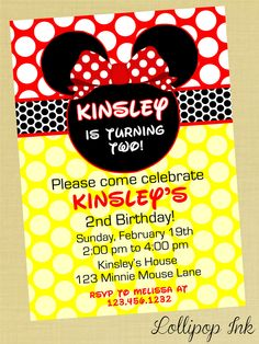 Minnie Mouse and Red Polka Dots Printable Invitation, Minnie Mouse Personalized Birthday Invite, Red and Black Polka Dots. $12.00, via Etsy.