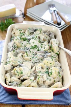 Chicken and Mushroom Tortellini Bake from missinthekitchen.com