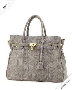 Emperia Croc Finish Office Tote Handbag - Choice of Colors (Grey)