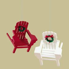 Adirondack Chair Christmas Ornaments Set Of 2 3 25 X 3 5 X 3 5 Christmas Ornament Sets Ocean Home Decor Ocean Decor