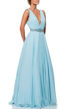 Terani Couture A-Line Gown with Pleating in Light Blue