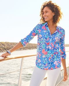 Prints paradise. An exclusive print created by the Italian print house, Ratti. Maker of beautiful motifs since 1945, this vibrant tropical print shirt is a must-have. | Talbots Summer Outfits Plain Tops, Classic Style Women, Talbots, Printed Shirts, Blouses For Women, Summer Outfits, Summer Collection, Style Inspiration, My Style