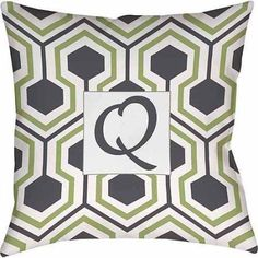 Thumbprintz Honeycomb Monogram Decorative Pillow, Grey, Gray