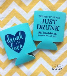 Drunk in Love can coolers, The Rest of us are just drunk can coosy, Drunk in Love beer holders, bach Beer Wedding, Wedding Koozies, Wedding Bells, Stag And Hen, Drunk In Love, Bachelorette Party Games, Couple Shower, Ink Color, Cart