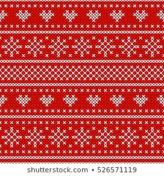 Holiday seamless pattern with cross stitch embroidered happy new year ornament (heart, snowflake). Christmas scheme endless design for package, web sites, textile. Winter Holiday, Red Christmas, Fair Isle Knitting, Seamless Background, Royalty Free Images, Lana, Diy And Crafts, Cross Stitch, Macrame