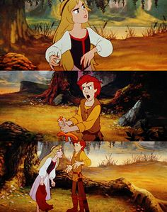"""""""What does a girl know about swords, anyway?""""     """"'Girl'? 'Girl'? If it wasn't for this girl, you would still be in the Horned King's dungeon!""""  Black Cauldron."""