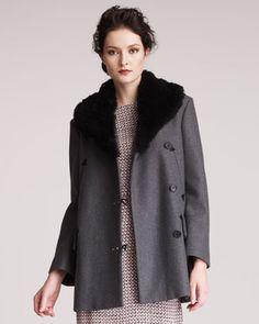 Shearling-Collar Coat by Marni at Neiman Marcus.