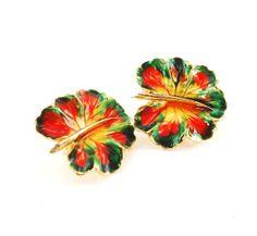 Vintage Enamel Leaf Earrings Red Yellow Green by RedGarnetVintage, $12.00