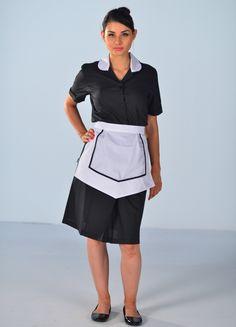 Blouse Femme de chambre noire à manches courtes Carlton Hotel Uniform, Maid Uniform, Maid Outfit, Maid Dress, Air Hostess Uniform, Housekeeping Uniform, Maid Cosplay, Aprons Vintage, Dress Suits