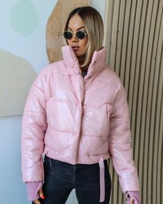 Ladies Nylon High Shine Finish Badge Detail Hooded Quilted Padded Puffer Jackets