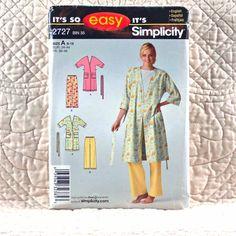 2727 SIMPLICITY Uncut PATTERN 2008 Women Tie Belt Wrap Robe Elastic Waist Pants Size 8 10 12 14 16 18 5-oz