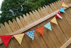 SALE - Carnival Party Bunting Decoration, Fabric Birthday Banner, Fall Circus Festival Decor, Photo Prop, Plane Theme - cloth, fabric flags