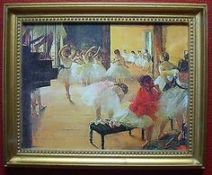 "Dollhouse Miniature ""Ballet School"" by Degas ~ reproduction framed print of painting"