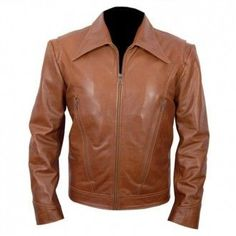 X-Men: Days Of Future Past.  Tan Brown Biker Leather Jacket made from genuine cowhide leather.