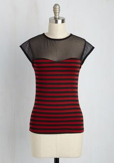 The Answer is Sheer Top in in Red Stripes. Life may throw mysteries your way, but one thing thats certain is your sensational style in this striped top! #red #modcloth