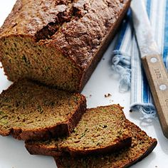 Classic Zucchini Bread Recipe - I substituted with whole wheat pastry flour and added some chocolate chips for sweetness.  Before serving, I poured a little maple syrup to make more moist and sweet.