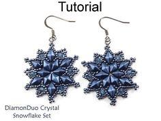 Earrings & Necklace Beading Pattern Tutorial - Beaded Snowflakes - DiamonDuo Two Hole Beads - DiamonDuo Crystal Snowflake Set #27244