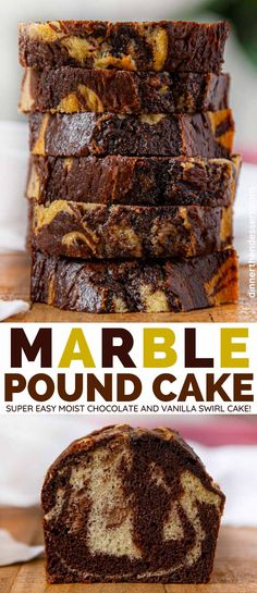 Marble Pound Cake is a tasty and beautiful moist chocolate cake marbled with vanilla cake batter dessert poundcake marblecake cake marblepoundcake dinnerthendessert Delicious Cake Recipes, Pound Cake Recipes, Frosting Recipes, Yummy Cakes, Dessert Recipes, Yummy Food, Moist Pound Cakes, Loaf Recipes, Dessert Bread