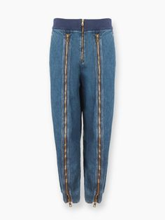 Denim zip fronted pants from our Fall 2016 collection
