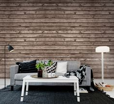 En+favorittapet+från+Rebel+Walls,+Horizontal+Boards,+brown!+#rebelwalls+#fototapet+#tapeter