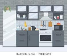 Flat Design, Kitchen Interior, Paper Cutting, Paper Dolls, Dollhouse Miniatures, Packaging Design, Pop Art, Illustration Art, Backgrounds