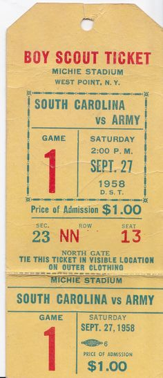Vintage 1950s Boy Scout Ticket West Point by NorthCountryVintage, $6.00