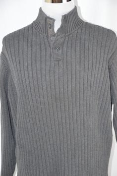 Old Navy Mens XXL Gray Long Sleeve Pull Over Warm Sweater Shirt Mock Turtleneck #OldNavy #Turtleneck