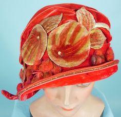 1925 MANNHEIMER, New York Red Velvet Painted Appliqued Leaves Cloche