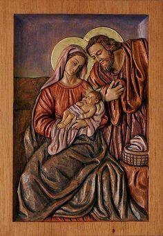 Cedar relief panel, 'Holy Family of Nazareth' by NOVICA