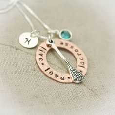 Lacrosse Charm Necklace Copper Washer and Sterling Silver Personalized Hand Stamped Necklace