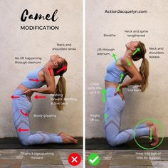 "6,249 Likes, 100 Comments - Jacquelyn || @getstretchy (@actionjacquelyn) on Instagram: ""Today's @getstretchy pose is Beginner's CAMEL ✅❌ For more yoga with me click the link in my bio!…"""