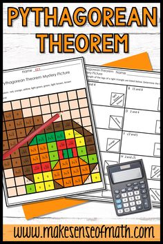 Your 8th grade, Algebra, and middle school math students will love this fun coloring Thanksgiving activity. Students practice using the Pythagorean Theorem by calculating the hypotenuse and legs of right triangles. This is more engaging than any worksheet. This no prep activity is perfect for your students right before the busy holidays. Click here to check this out. #makesenseofmath #pythagoreantheorem #Thanksgivingmath 8th Grade Math, Eighth Grade, Fun Math Activities, Math Resources, Math Lesson Plans, Math Lessons, Algebra Games, Pythagorean Theorem, Thanksgiving Math