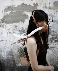 """s air. one planet. Chiu Chih's """"Survival Kit for the Ever-Changing Planet"""" - Wearable Plant Cleans The Air For You When Pollution Is Bad Steampunk, Post Apocalyptic Fashion, Dark Circus, Post Apocalypse, Apocalypse Survival, Apocalypse Costume, Apocalypse Aesthetic, Apocalypse Fashion, Beauty Photography"""