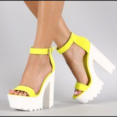 """Lounge Open Toe Neon Yellow Lug Sole Platform Heel Heel Height: 5.8"""" w/ 2"""". I wore these one time for my bachelorette party in Vegas and they completed my outfit! Other than walking to and from the party bus, and lounging at the beach club, these have not been worn! Wild Diva Shoes Platforms"""