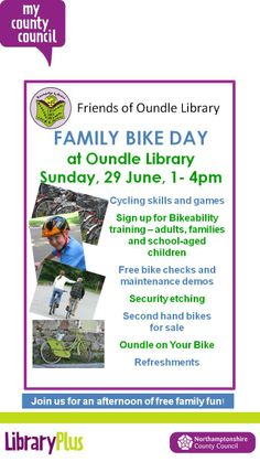 Family bike day at Oundle Library Sunday 29th June