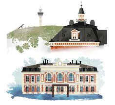 Illustrations by Jussi Kaakinen for the Finnish Cultural Foundation's Regional Funds, 2014 Finland Helsinki, Regional, Finland, Foundation, Culture, Illustrations, Graphic Design, Mansions, House Styles