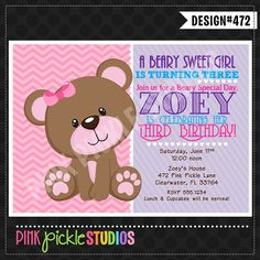 Girly TEDDY BEAR INVITATION or Thank You Card Personalized Birthday Party Printables (472)