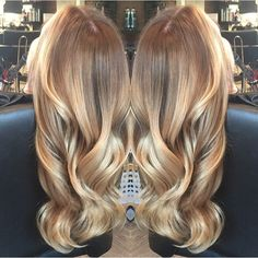 Gold toned melt. Color by @hairbymonika.q #hair #hairenvy #haircolor #blonde…