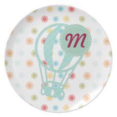 Customisable Sweet Baby Children Air Balloon Plate