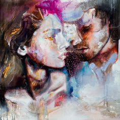 Gold and Grace, an original oil painting of an abstract romantic couple by Dimitra Milan kp