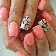 Nail art is one of many ways to boost your style. Try something different for each of your nails will surprise you. You do not have to use acrylic nail designs to have nail art on them. Here are several nail art ideas you need in spring! Cute Summer Nail Designs, Nail Designs Spring, Nail Art Designs, Flower Designs For Nails, Nail Art Flowers, Flower Toe Nails, Fingernail Designs, Nail Art Ideas For Summer, Pedicure Ideas Summer